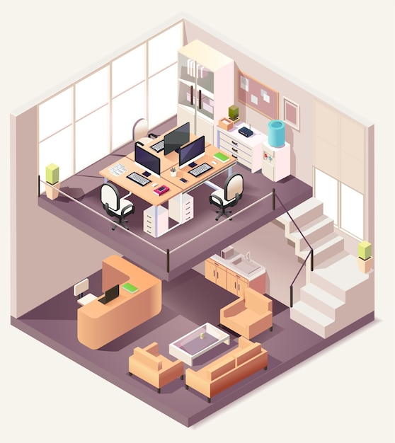 Isometric office different floors composition Premium Vector