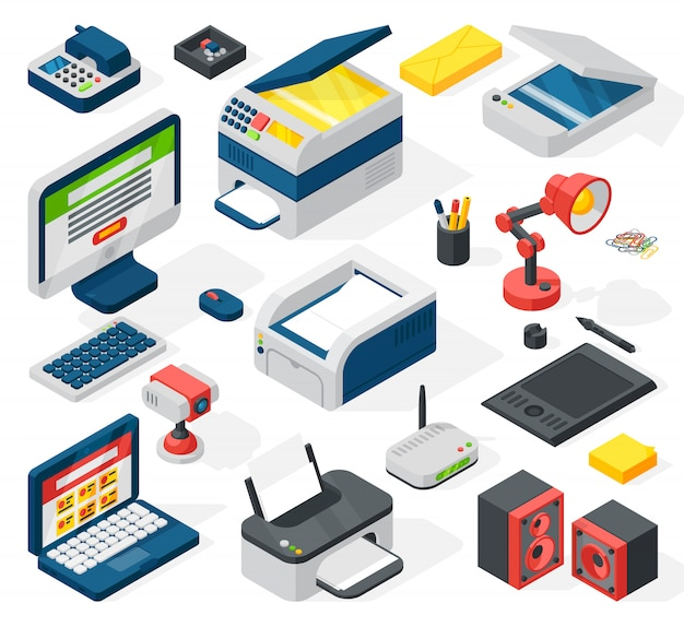 Isometric office equipment Premium Vector