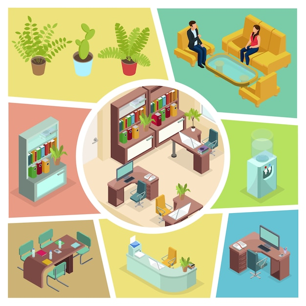 Isometric office interior composition with talking business people comfortable furniture plants bookcase water cooler computer printer Free Vector