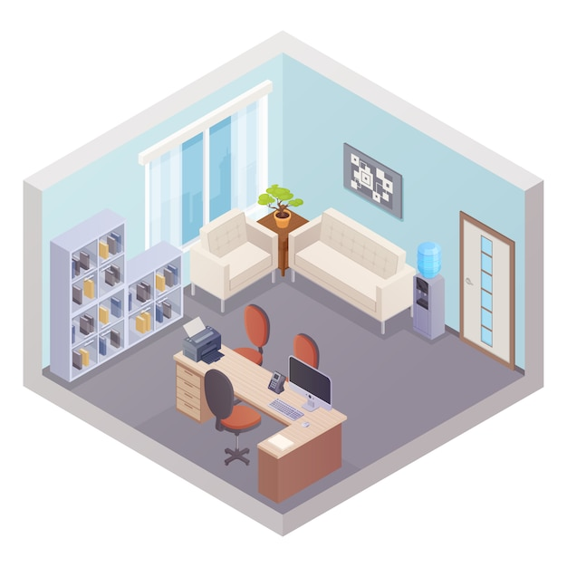 Isometric office interior with boss workplace shelves for documents cooler and zone for visitors vec Free Vector