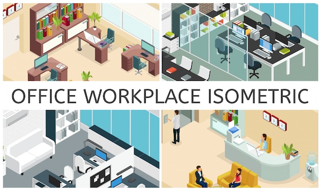 Isometric office interiors composition with different business workspaces furniture computers laptops printer water cooler clocks plants bookcase people reception Free Vector