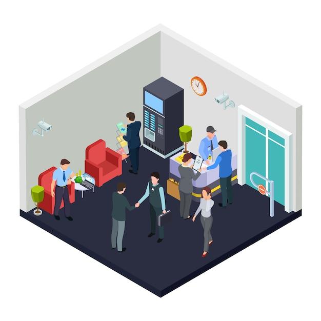 Изометрические офис лобби с охраной. деловые люди встречаются в холле Premium векторы