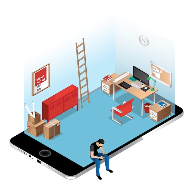 isometric office on iphone screen free vector isometric furniture vector collection r96 vector