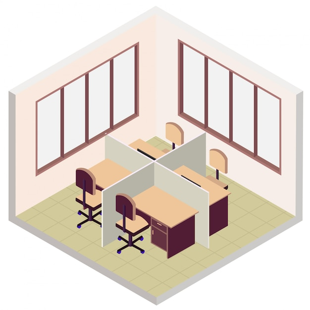 Isometric office room icon Premium Vector