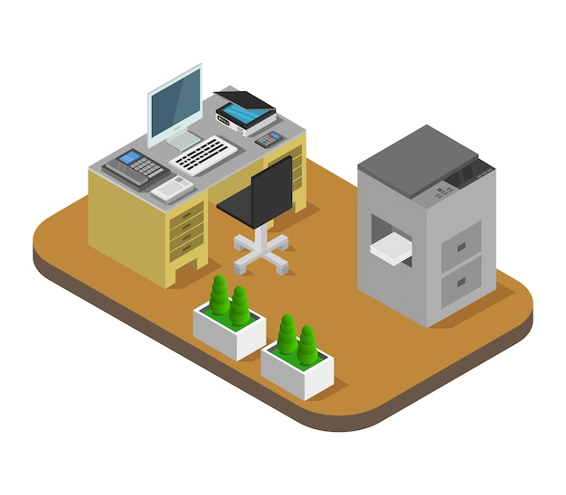 Isometric office room Free Vector