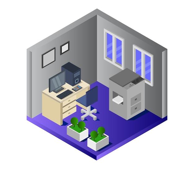 Изометрическая офисная комната Бесплатные векторы