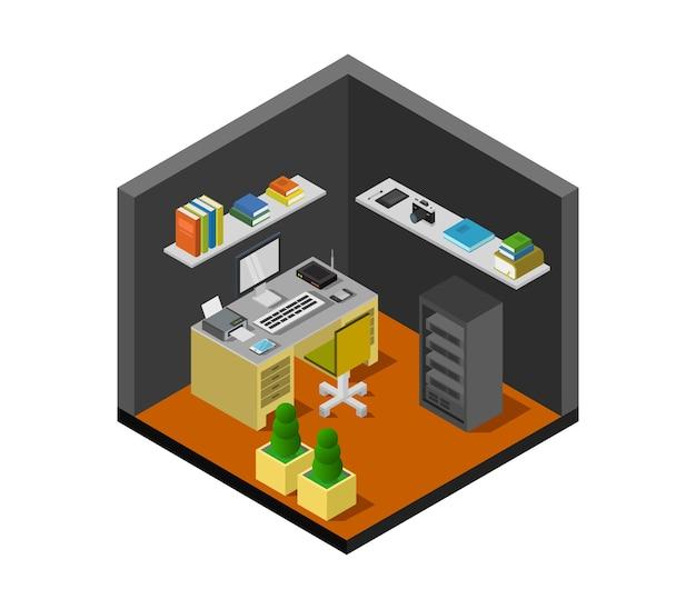 Изометрическая офисная комната Premium векторы