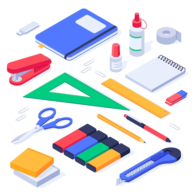Isometric office supplies. school stationery tools, pencil eraser and pens   set Premium Vector