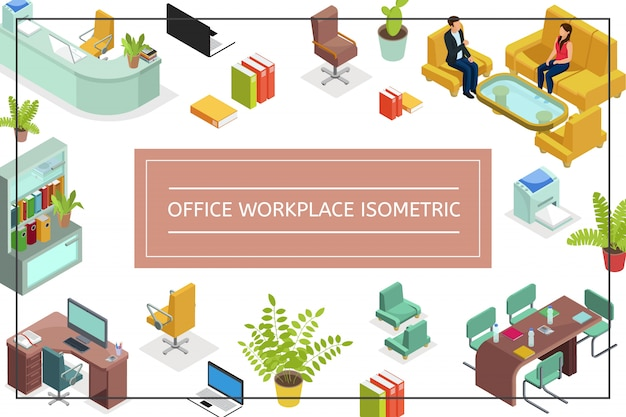 Isometric office workplace composition with chairs sofa tables armchair computer printer laptop plants bookcase talking people file folders Free Vector