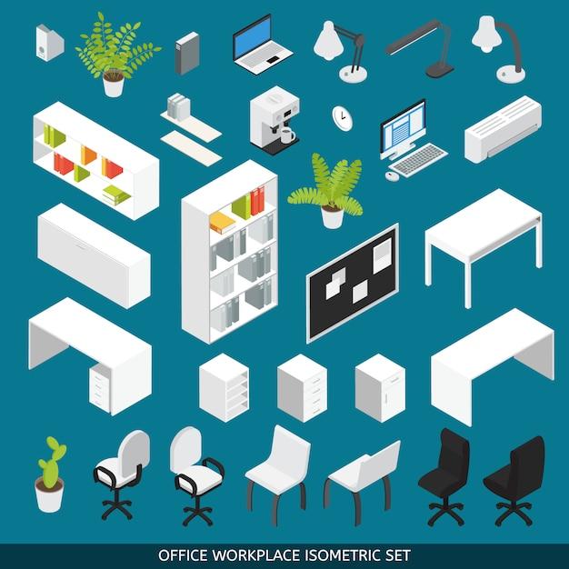 シーンクリエーター用に設定された等尺性の職場。職場の整理のための属性とオフィス家具付き 無料ベクター
