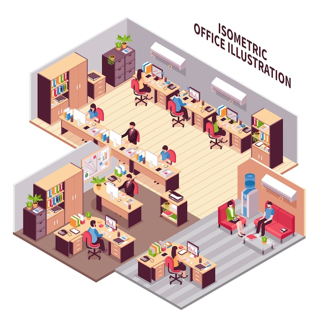Isometric office workplaces illustration Free Vector