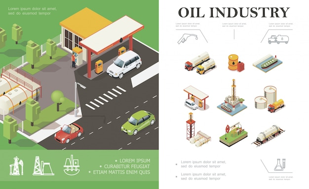 Isometric oil industry composition with cars on gas station trucks tanker water platform derrick drilling rig barrels cisterns canisters of petroleum Free Vector