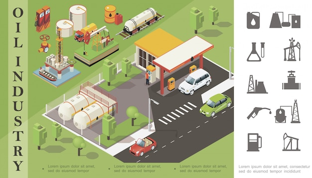 Isometric oil industry composition with gas station tanker railway cistern barrel canister derrick drilling rig truck pipeline valve and monochrome petroleum icons Free Vector