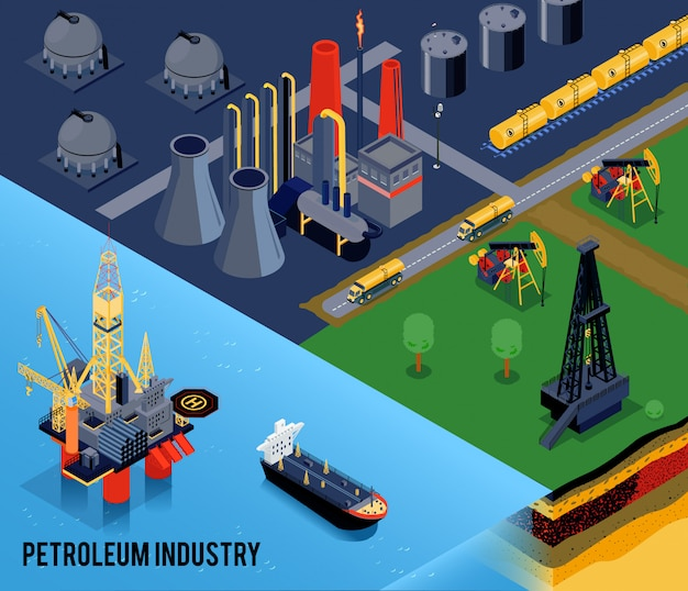 Isometric oil industry composition with petroleum industry headline and landscape of the city Free Vector