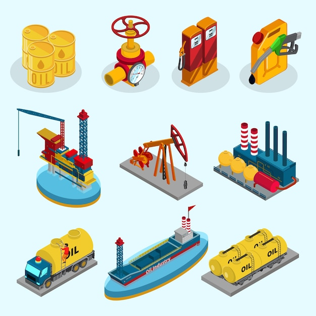 Isometric oil industry elements collection Free Vector
