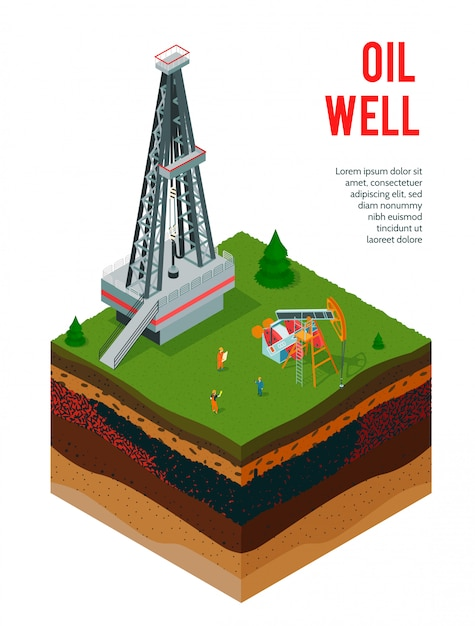 Isometric oil industry  with editable text and view of ground layers with oil derrick constructions Free Vector