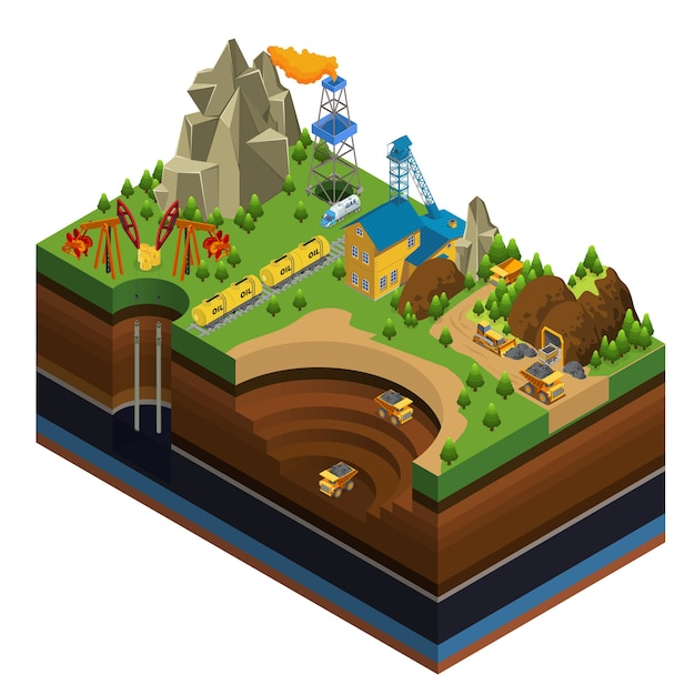 Isometric oil and mining industry concept with derricks gas rig rail gasoline tankers dump trucks working in quarry Free Vector