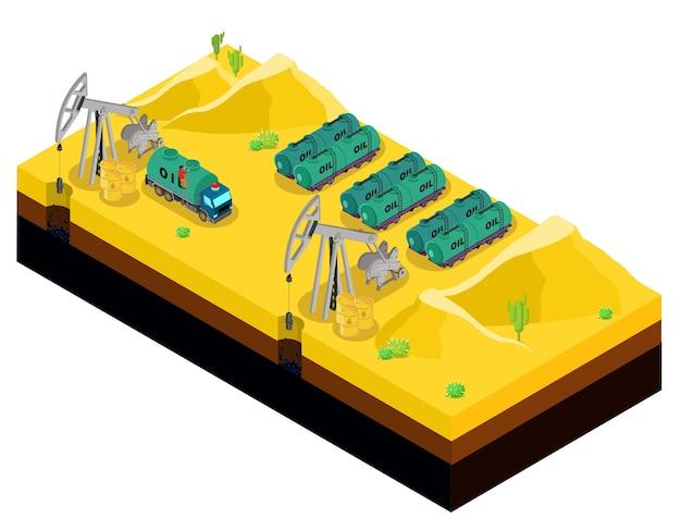 砂漠のテンプレートで等尺性石油生産 無料ベクター