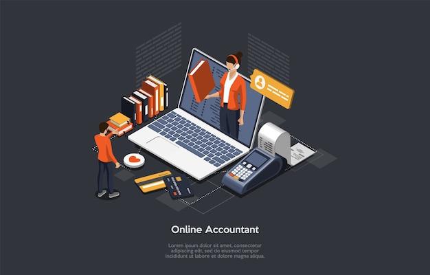 아이소 메트릭 온라인 회계사 개념. 여성 회계사는 세금 보고서를 준비하고 데이터를 기반으로 지불 수표를 계산합니다. 법률 서비스 온라인 송장 회계사 선언. 프리미엄 벡터