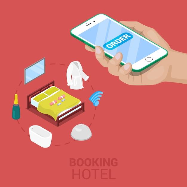 携帯電話で等尺性のオンライン予約ホテルのコンセプト。ベクトル3 dフラットイラスト Premiumベクター