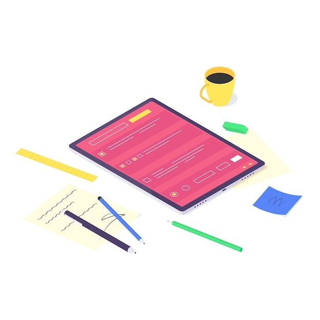等尺性のオンラインコンピュータ研究と教育概念技術 Premiumベクター
