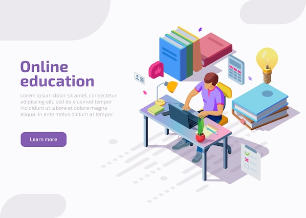 Isometric online distance education, training, courses. Free Vector