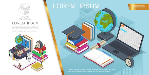 Isometric online education composition with people in learning process books laptop graduation cap globe Free Vector