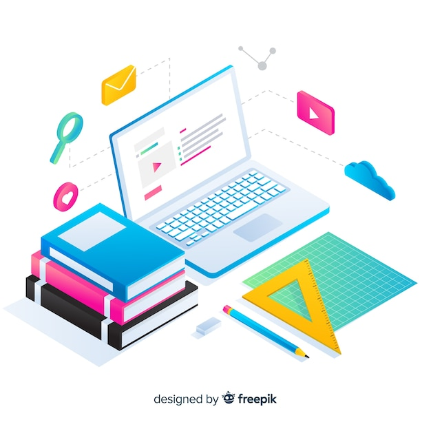 Isometric online education concept background Free Vector