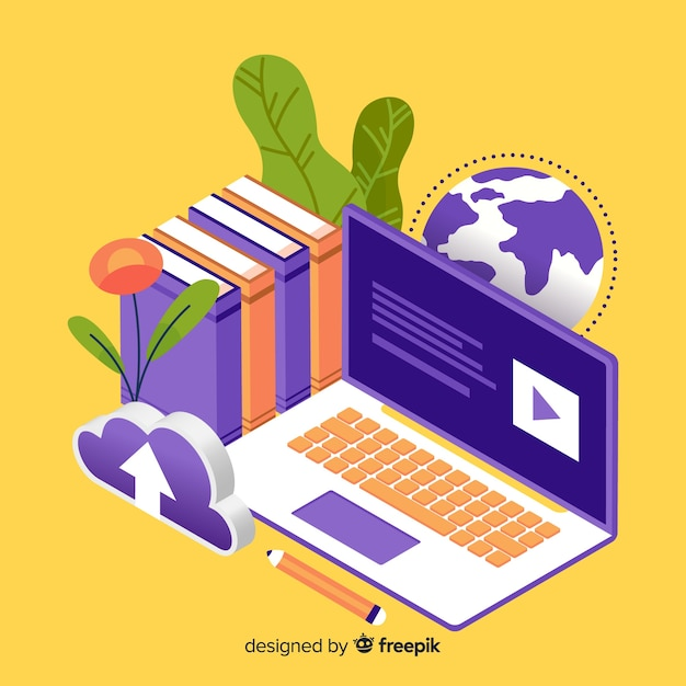 Isometric online education concept Free Vector