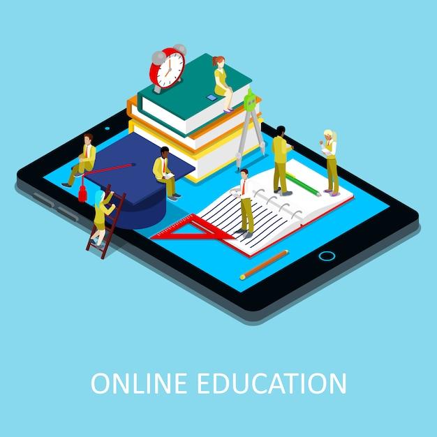 Изометрические онлайн образовательная иллюстрация Premium векторы