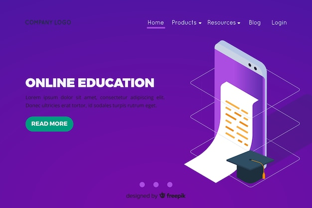 Isometric online education landing page Free Vector