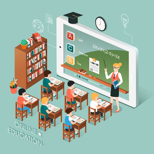 Isometric  of online education with tablet Premium Vector
