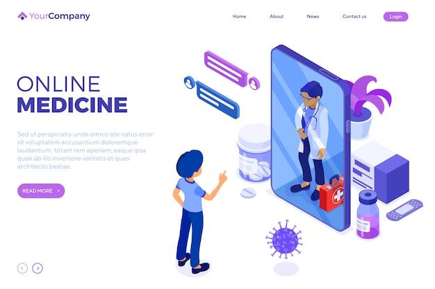 Изометрические онлайн-медицинская диагностика и рабочее место врачей. Premium векторы