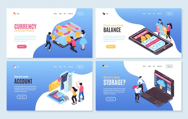 Isometric online mobile banking horizontal banners set with conceptual images of people smartphones and editable text Free Vector