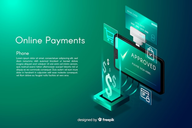 Isometric online payments background Free Vector