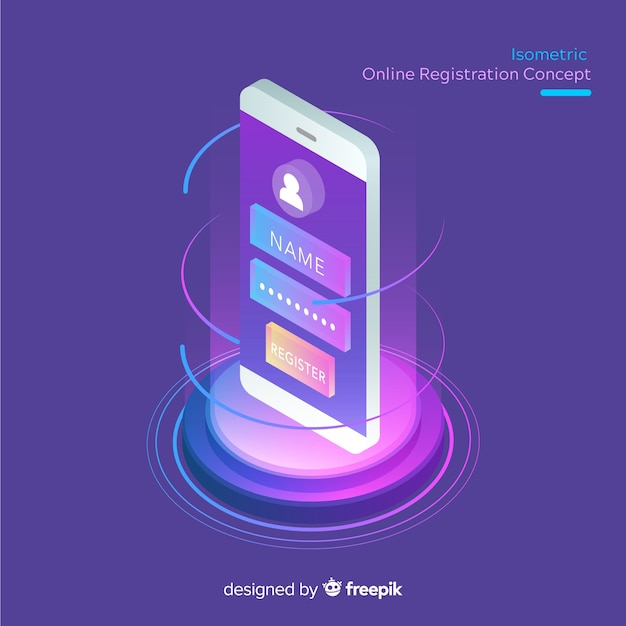 Isometric online registration concept Free Vector