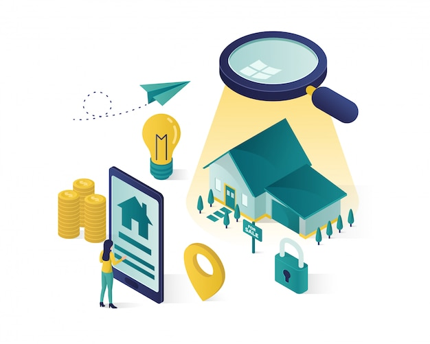 Isometric online searching Premium Vector