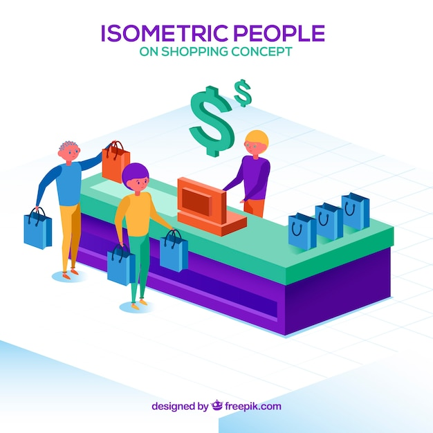 Isometric online shopping concept Free Vector