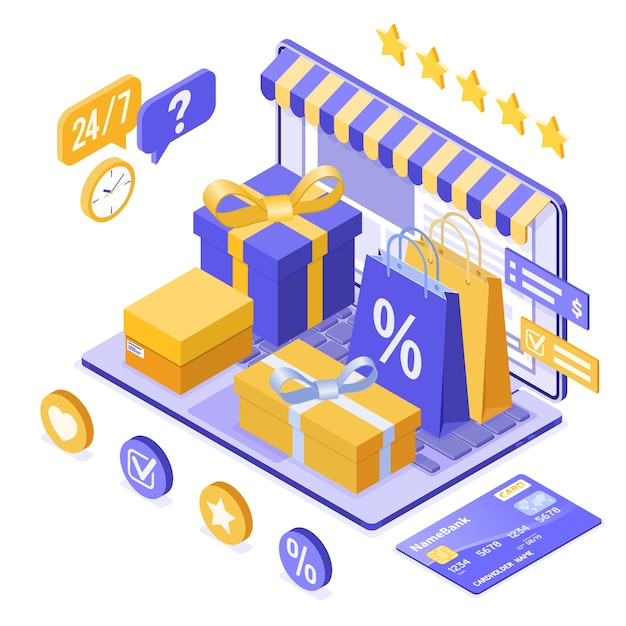 Изометрические интернет-магазины, доставка, концепция логистики. Premium векторы