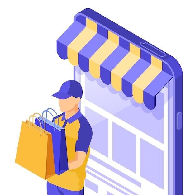 等尺性のオンラインショッピングのイラスト Premiumベクター