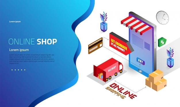 Isometric online shopping landing page concept Premium Vector