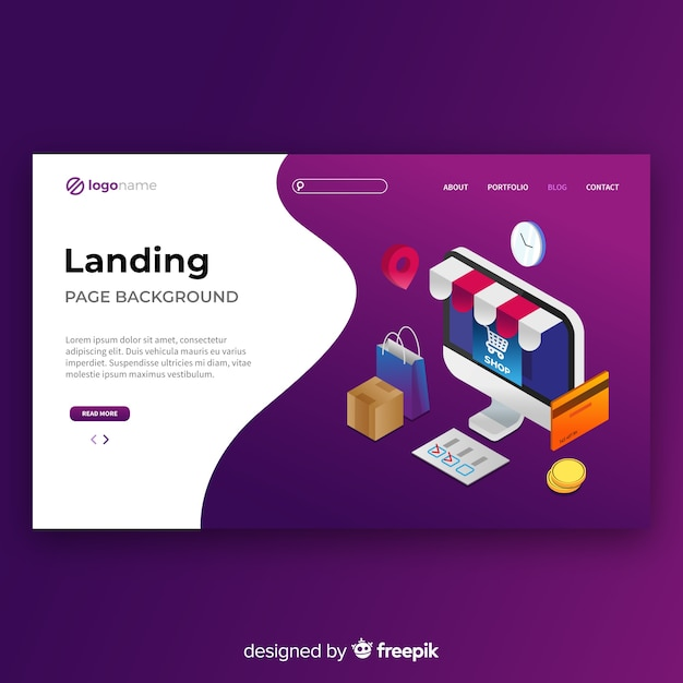 Isometric online shopping landing page template Free Vector