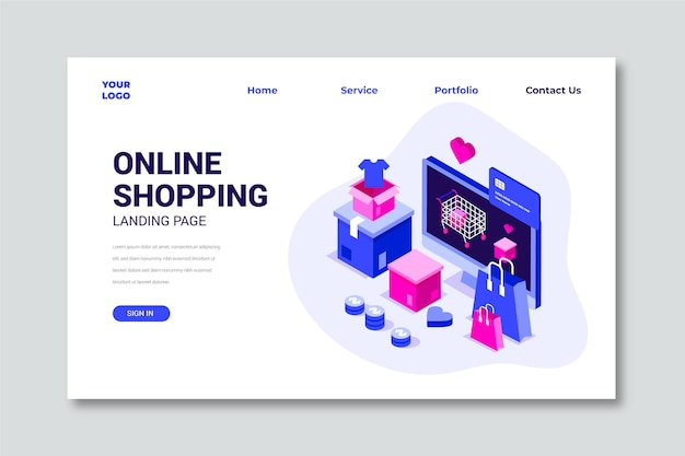 Isometric online shopping landing page Free Vector