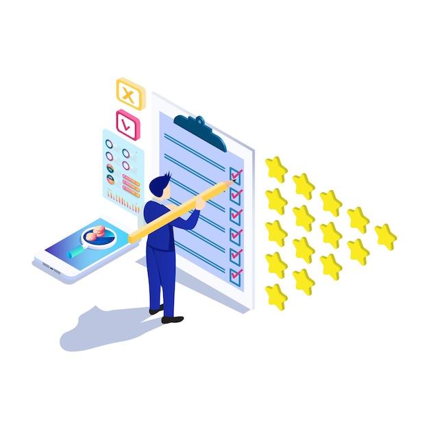 응용 프로그램 제품 서비스에 대한 등급 별 거품이있는 아이소 메트릭 온라인 설문 조사 개념 프리미엄 벡터
