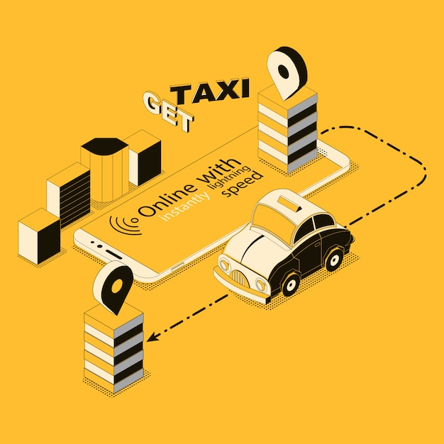Isometric online taxi, app for smartphone Free Vector