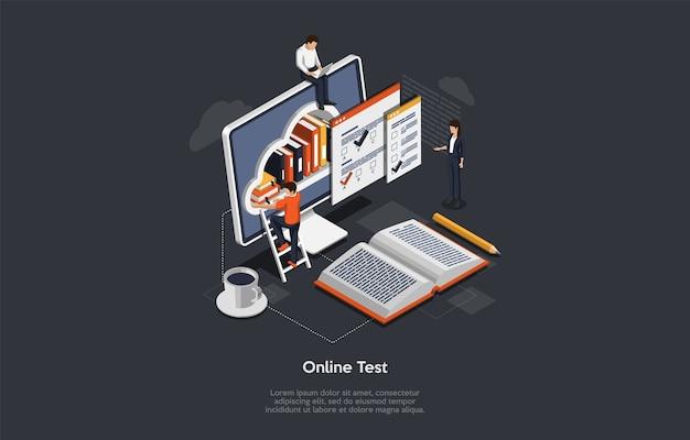 アイソメトリックオンラインテストの概念。学生のグループは試験を受けます。画面に本があり、はしごの上に立っている男性がいる小さなキャラクター、インフォグラフィック、巨大なラップトップのメタファー。 Premiumベクター
