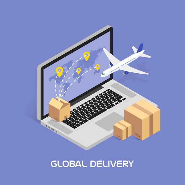 Isometric  online tracking. shipping and global deliveries by air service. cardboard boxes with products. aircraft flying. Premium Vector