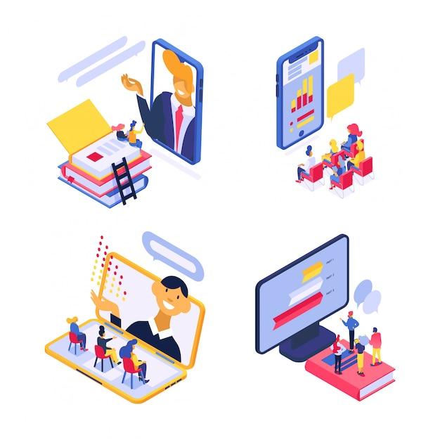 等尺性オンライントレーニング技術図、オンライン教育、webコース、白で隔離される会議セットの学生 Premiumベクター