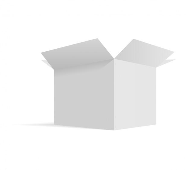 Isometric opened cardboard box packaging template Premium Vector