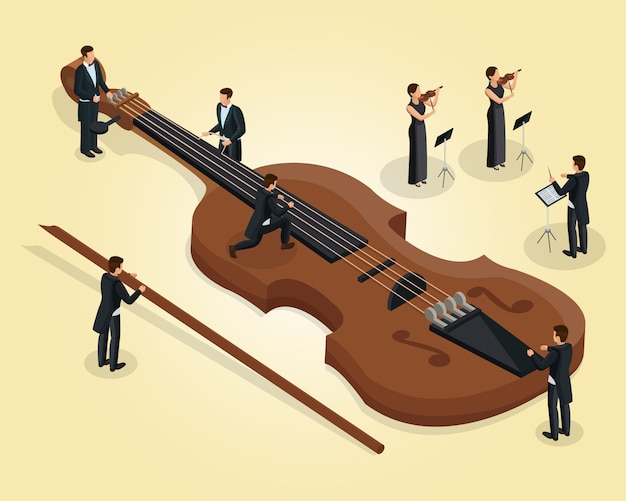 Isometric orchestra template with musicians tune violin female violinists and conductor isolated Premium Vector